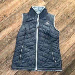 North Face Reversible Puffer Blue Vest Women's M